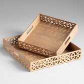 Square Xoxo Trays in Ash Veneer