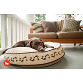 Utopian Footprints Round Dog Bed in Khaki / Chocolate
