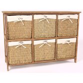 Wicker 6 Drawers Cabinet