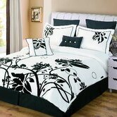 Chelsea 8 Piece Flocked Comforter Set in Black / White