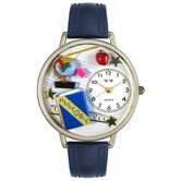 Unisex History Teacher Navy Blue Leather and Silvertone Watch in Silver