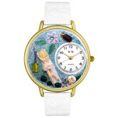 Unisex Massage Therapist White Leather and Goldtone Watch in Gold