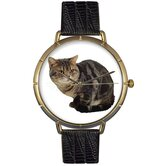 Unisex American Shorthair Cat Photo Watch with Black Leather