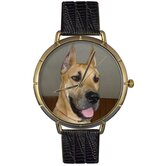 Unisex Great Dane Photo Watch with Black Leather
