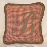French Farmhouse 'Oliver' Full Nursery Monogrammed Check Pillow