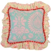Lily Matilda Full Nursery Aqua Damask Pillow with Ruffle