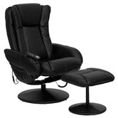 Leather Heated Reclining Massage Chair and Ottoman
