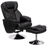 Transitional Leather Club Recliner and Ottoman