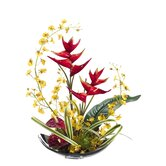 24&quot; Oncidium and Tropical Plant Arrangement on Aluminum Plate