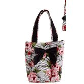 Cottage Rose Lace Pink Bow with Lunch Tote
