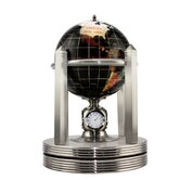 Polished Stone Globe with Brass Clock Stand