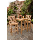 Avalon 3 Piece Bar Height Dining Set