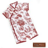 Toile Kimono Infant Bodysuit in Burgundy and White