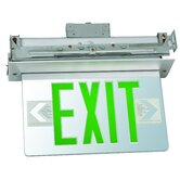 Recessed Mount Edge Lit LED Exit Sign with Green on Clear Panel and Aluminum Housing
