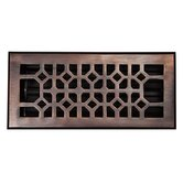 "Solid Cast 100% Copper Decorative 4"" x 10"" Floor Register with Damper"