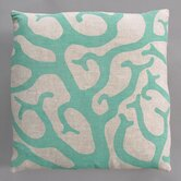 Coral Turquoise Pillow on Natural Linen