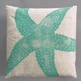 Starfish Turquoise Pillow on Natural Linen