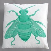 Bee Turquoise Pillow on White Linen