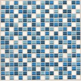 "Legacy Glass 5/8"" x 5/8"" Glass & Stone Mosaic Tile in Ocean Blend"