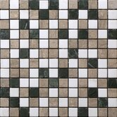 "Traditional 1"" x 1"" Mosaic in White/Green Mix"