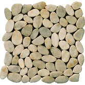 "Natural Stone 12"" x 12"" Flat Rivera Pebble Mosaic in Cream"
