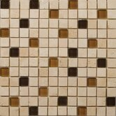 "Natural Stone 1"" x 1"" Travertine Ancient Tumbled Glass Blend Mosaic in Pingu Beige"
