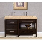 "60"" Stanton Modern Bathroom Double Vanity Integrated Sink Cabinet"