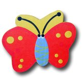 Butterfly Drawer Knob in Red / Yellow Back