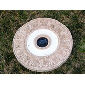 Solar Power Round Stepping Stone in White Wash (Set of 3)