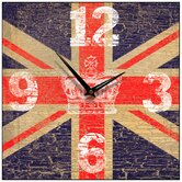 Union Jack Crown Vintage Square Wall Clock