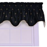 Fleur Di Lis Faux Silk Lined Duchess Filler Valance Window Curtain in Black