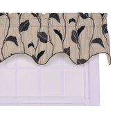Riviera Large Scale Leaf and Vine Lined Duchess Filler Window Curtain Valance in Black