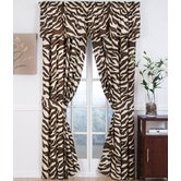 Brown Zebra Drapes and Valance Set