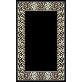 African Adventure Black Leopard Border Rug