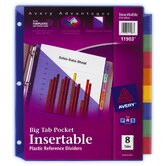 8 Count Big Tab Insertable Single Pocket Plastic Divider