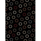 Tribeca Circles Black Rug