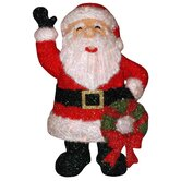 Santa Claus with Wreath Statue