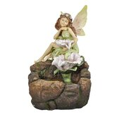 Polyresin Fairy and Flowers Fountain with LED Light