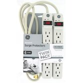 2 Count 6-Outlet 104 Joules Surge Strip