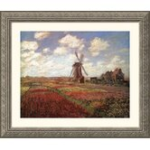 Champs de Tulip Silver Framed Print - Claude Monet