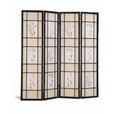 Pateros Four Panel Floral Printed Folding Screen in Black with Beige and White Panels