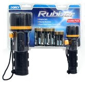 2 Count 2 D & 2 AA Rubber Flashlight Combo With Batteries 4