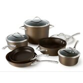 Contemporary Hard-Anodized Aluminum 10-Piece Cookware Set