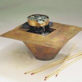 Copper Water and Fire Square Tabletop Fountain in Flame Finish