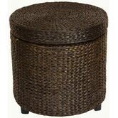 Rush Grass Storage Footstool in Red Brown