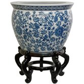 Fishbowl with Blue Floral Design in White