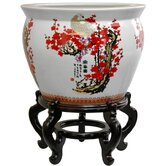 Fishbowl in Cherry Blossom Design in White