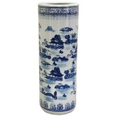 Umbrella Stand with Blue Landscape Design in White