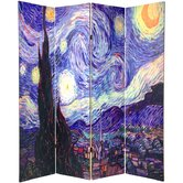 Double Sided Works of Van Gogh Canvas 4 Panel Room Divider