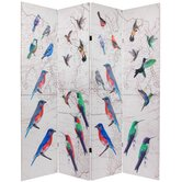 Double Sided Birds 4 Panel Room Divider